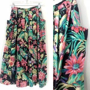 Vintage 1980's tropical bird floral full skirt